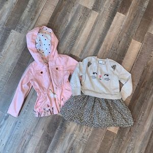Toddler Girl Leopard Kitty Dress and Jacket